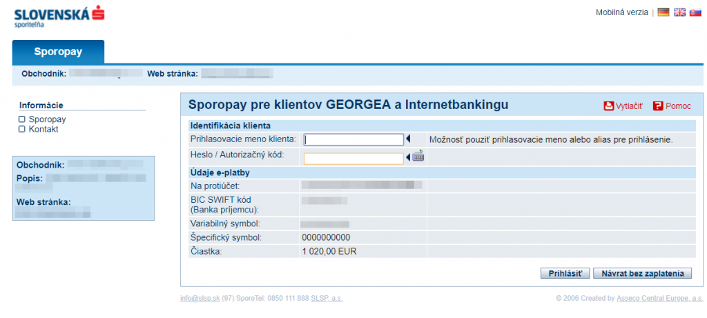 Sporopay plugin - rozhranie banky