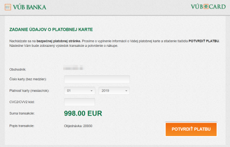 VÚB eCard plugin - rozhranie banky