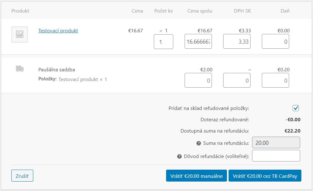plugin TB CardPay - refundácia