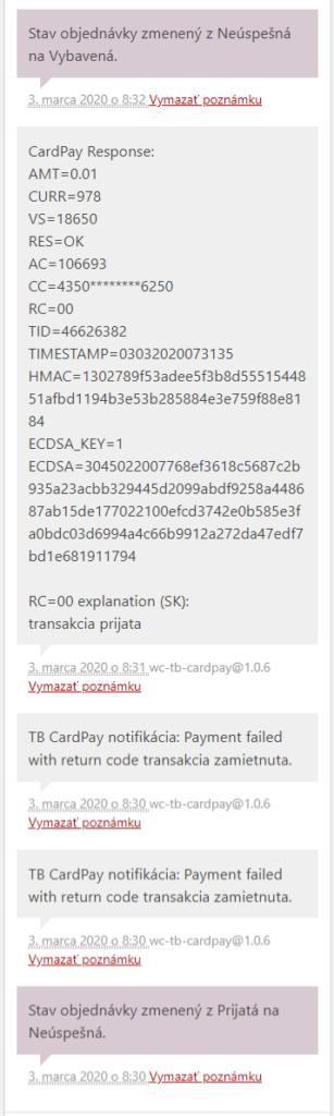plugin TB CardPay - poznámky