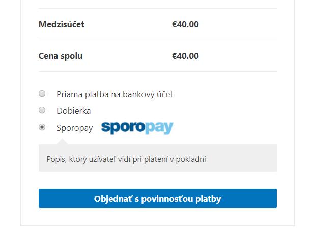 Sporopay plugin - výber platby v e-shope