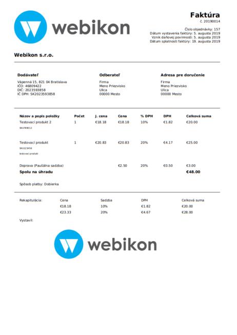 WooCommerce faktúry - ukážka vytvorenej faktúry