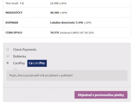 TB CardPay plugin - zobrazenie v e-shope