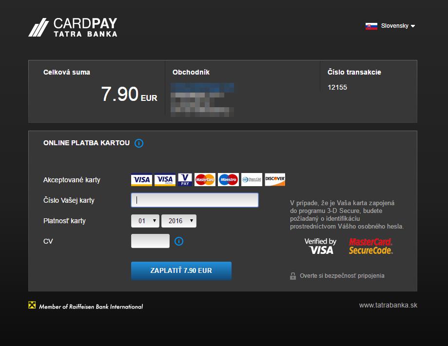 TB CardPay plugin - rozhranie banky