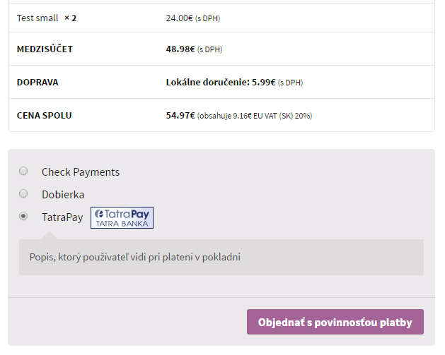 TB TatraPay plugin - zobrazenie v e-shope