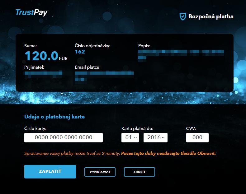 TrustCard plugin - rozhranie banky