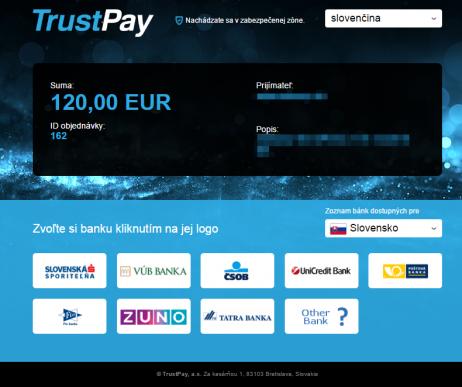TrustPay plugin - rozhranie banky