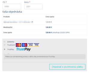 TrustPay plugin - výber platby v e-shope
