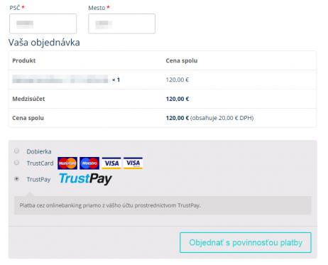 TrustPay plugin - zobrazenie v e-shope