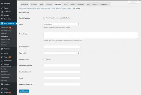 VUB ePlatby plugin - nastavenie