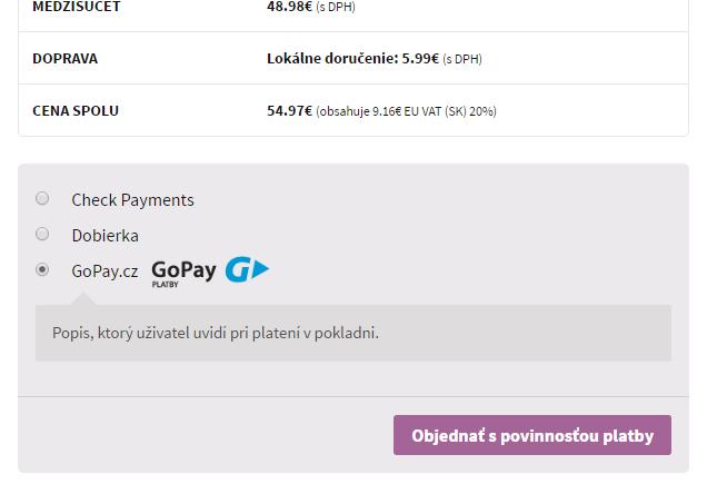 GoPay plugin - zobrazenie v e-shope