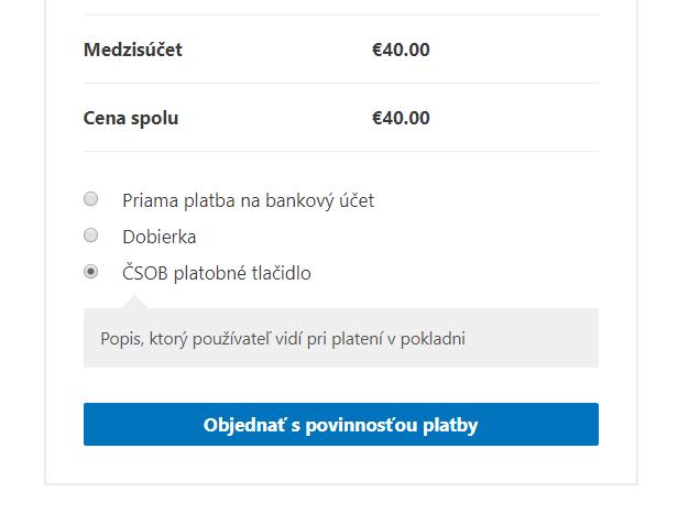 ČSOB pl. tlačidlo - výber platby v e-shope