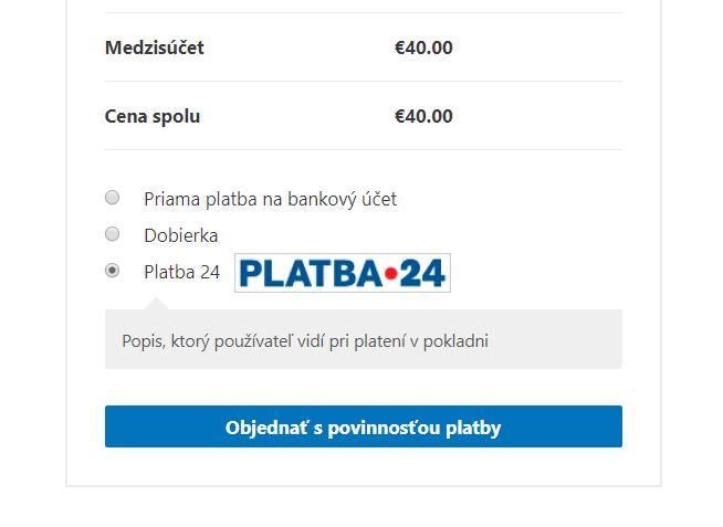Platba 24 plugin - výber platby v e-shope