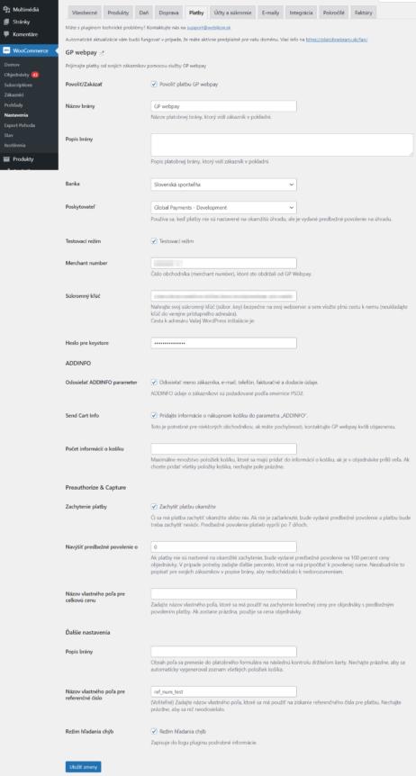 GP Webpay plugin - nastavenia