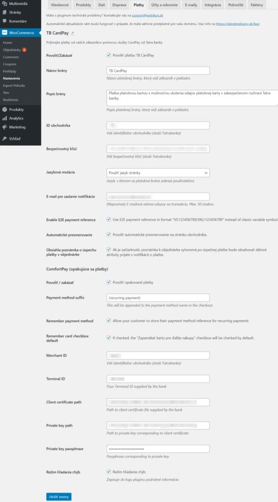 ComfortPay plugin - nastavenia