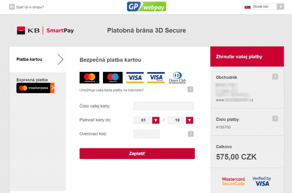 GP Webpay plugin - rozhranie banky