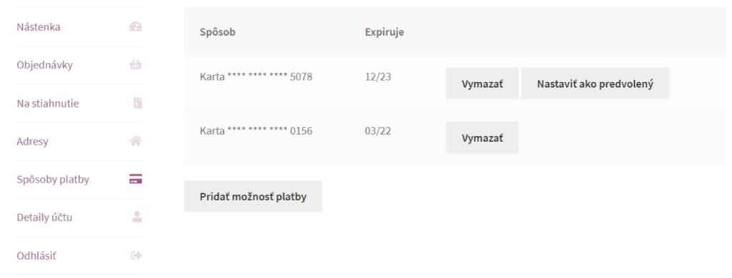 ComfortPay plugin - spôsoby platby