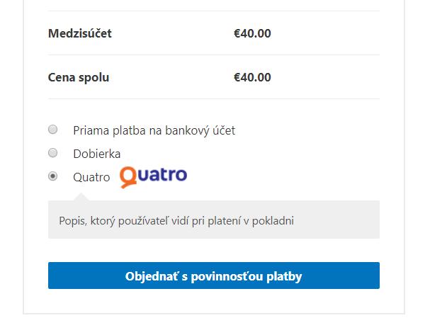 Quatro plugin - výber platby v e-shope