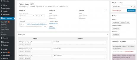 Kontrola IČ DPH plugin - detail objednávky