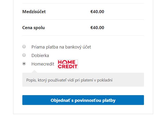 Homecredit plugin - výber platby v e-shope