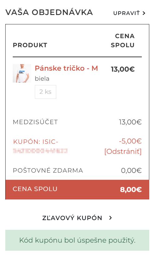 ISIC discount plugin - pokladna