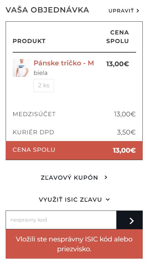 ISIC discount plugin - nespravny kod v pokladni