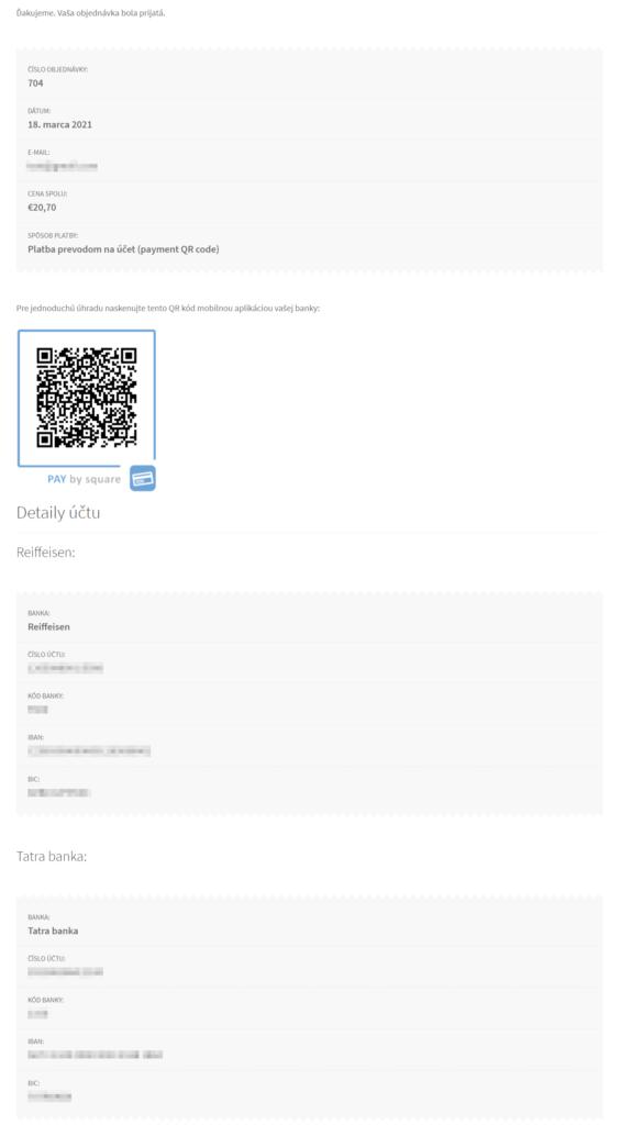 Pay by Square plugin - ďakovná stránka