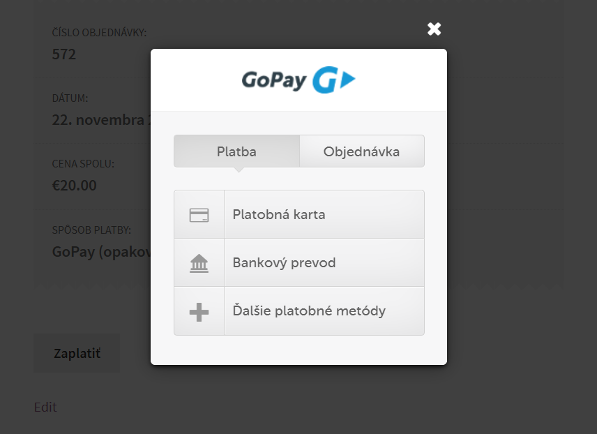 GoPay recurring plugin - rozhranie inline platby